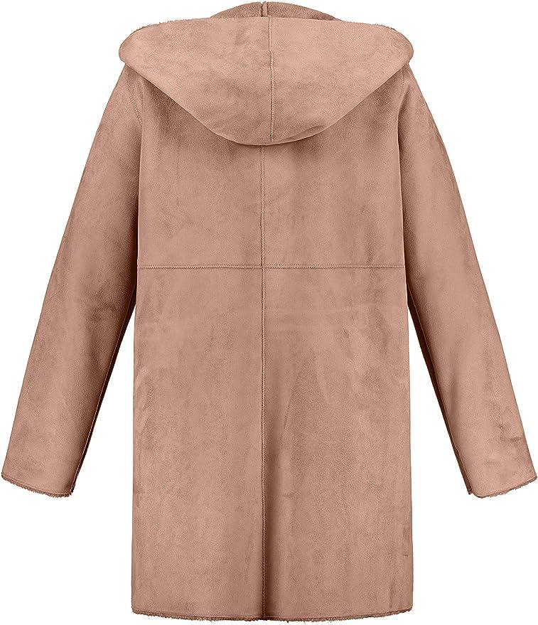 la/çage Peluche col Droit 725519 Ulla Popken Femme Grandes Tailles Manteau matelass/é