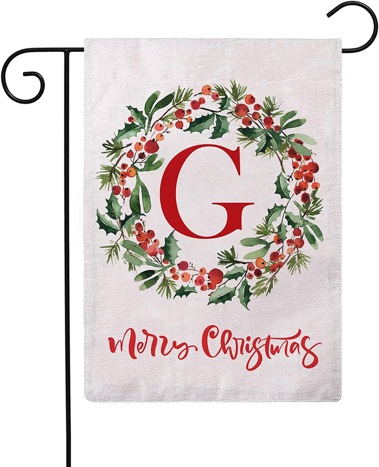 ULOVE LOVE YOURSELF Merry Christmas Wreath Decorative Garden Flags with Monogram Letter G Double Sided Winter Holiday Outdoor Garden Flags 12.5×18 Inch for House Garden Yard Patio Decor (G)