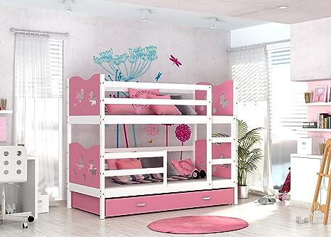 Fura Furniture LTD MAX litera Blanco/Rosa, sin colchones y Almacenamiento cajones Entrega Gratuita