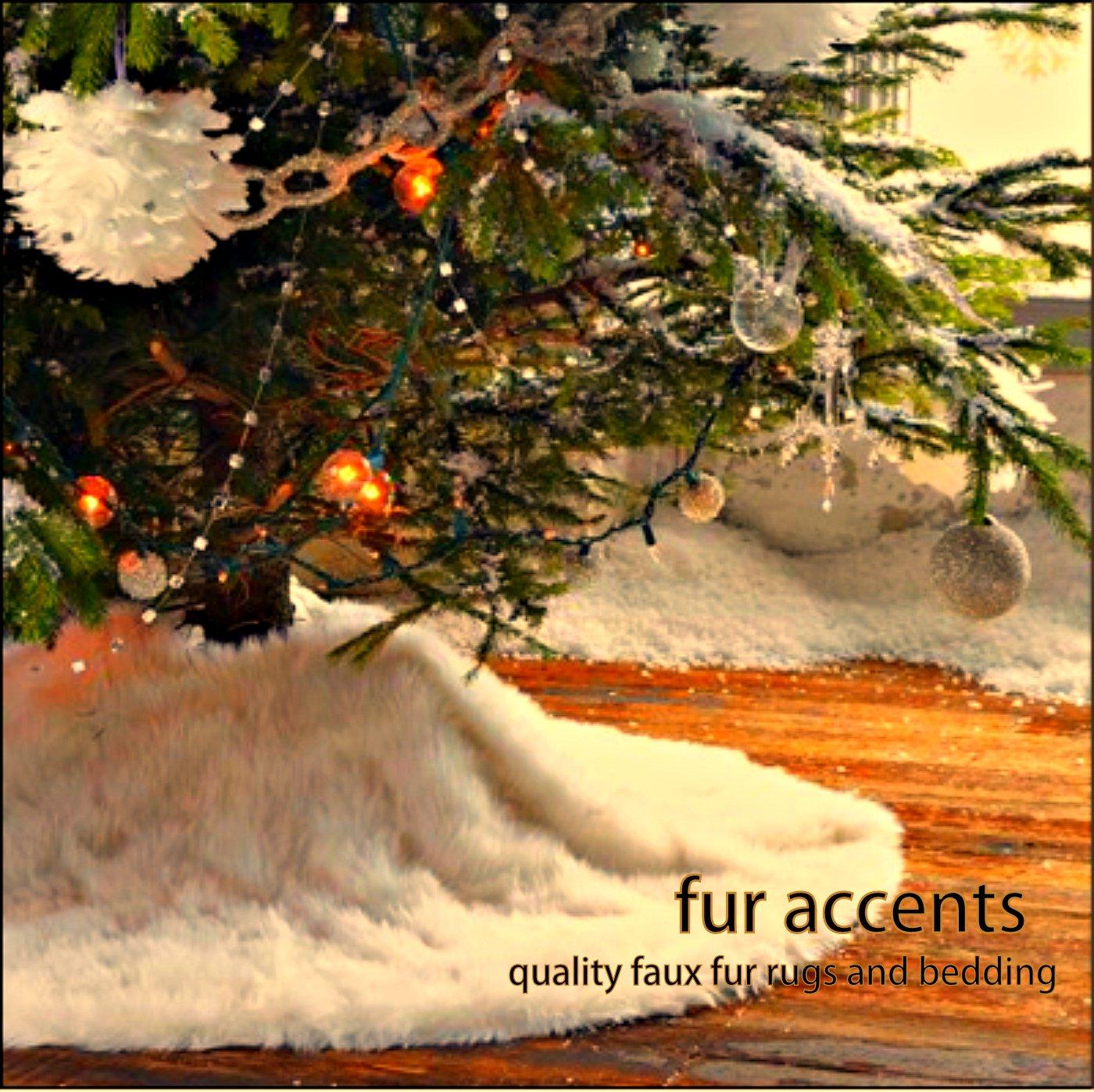Amazon.com: Fur Accents Christmas Holiday Tree Skirt, Plush Shaggy ...