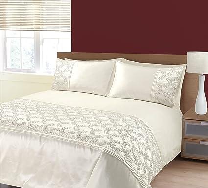 66e7788b K LIVING Zara Cream Embroidery Sequins Duvet Cover Bedding Set - Size:  King: Amazon.co.uk: Kitchen & Home