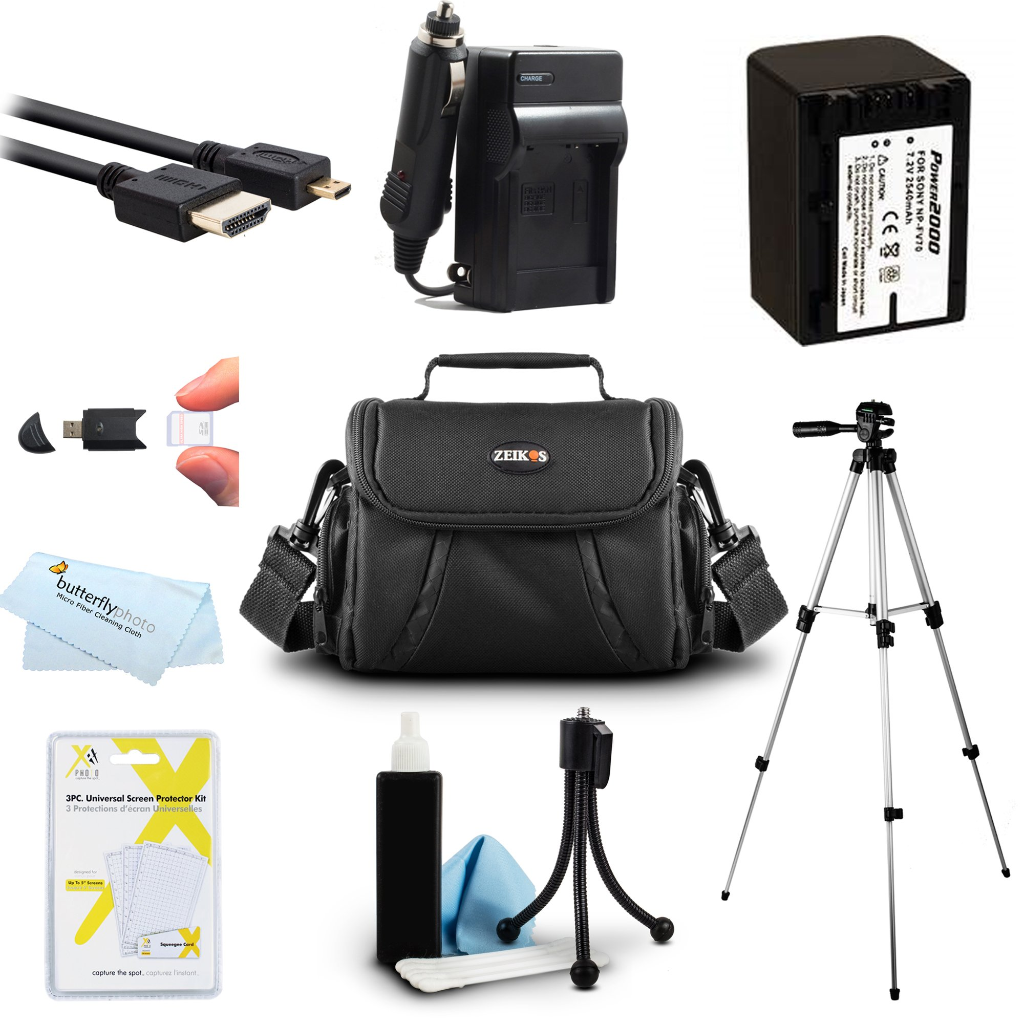 Must Have Accessory Kit For Sony HDR-CX230, HDR-CX330, HDR-CX900, HDR-PJ540, HDR-PJ670, FDR-AX33, FDR-AX53, FDRAX53/B HD Camcorder Includes Replacement NP-FV70 Battery + Charger + Case + Tripod + More
