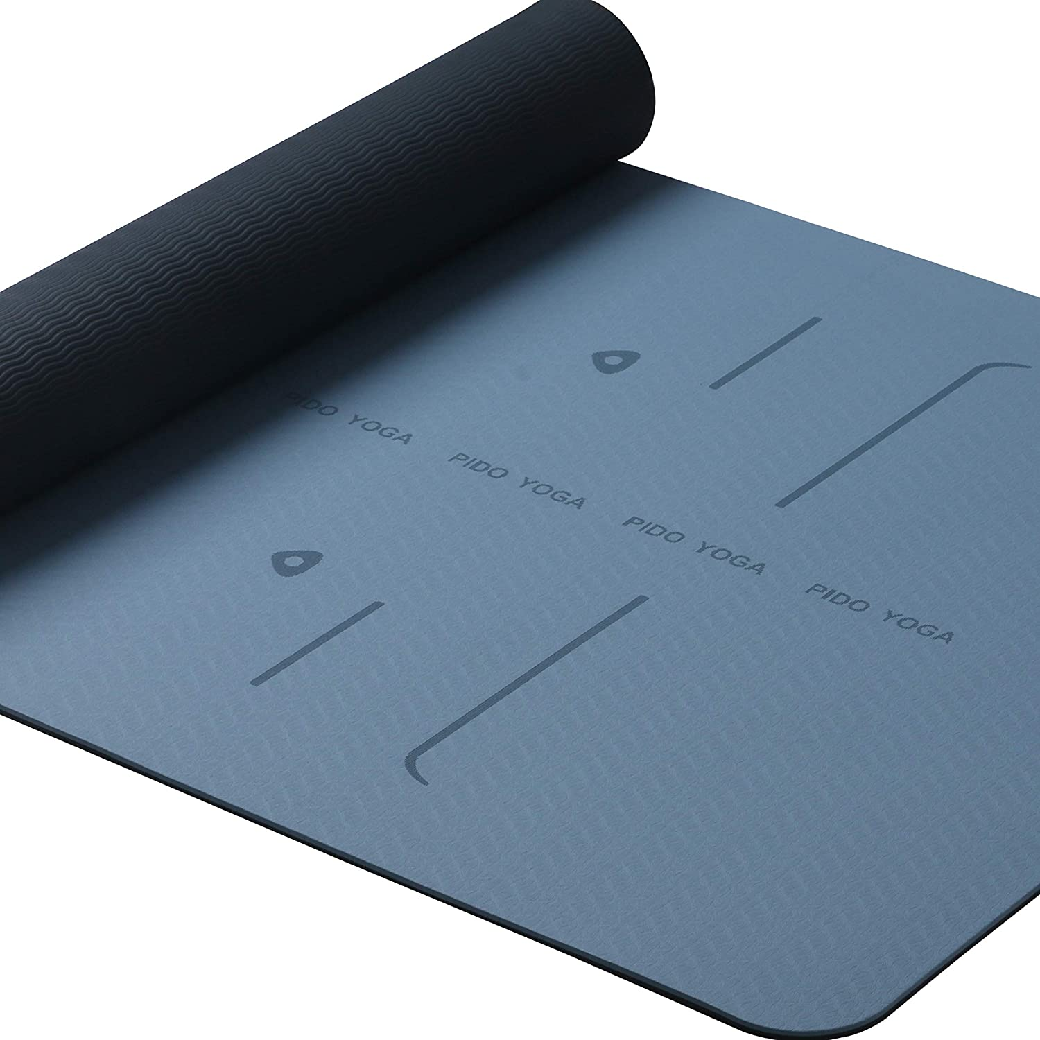WWWW PIDO Yoga Mat TPE Eco Friendly Sticky Non Slip Exercise Mat Alignment Lines with Body Alignment System with Carrying Strap and Bag,72 x26 Extra 1 4