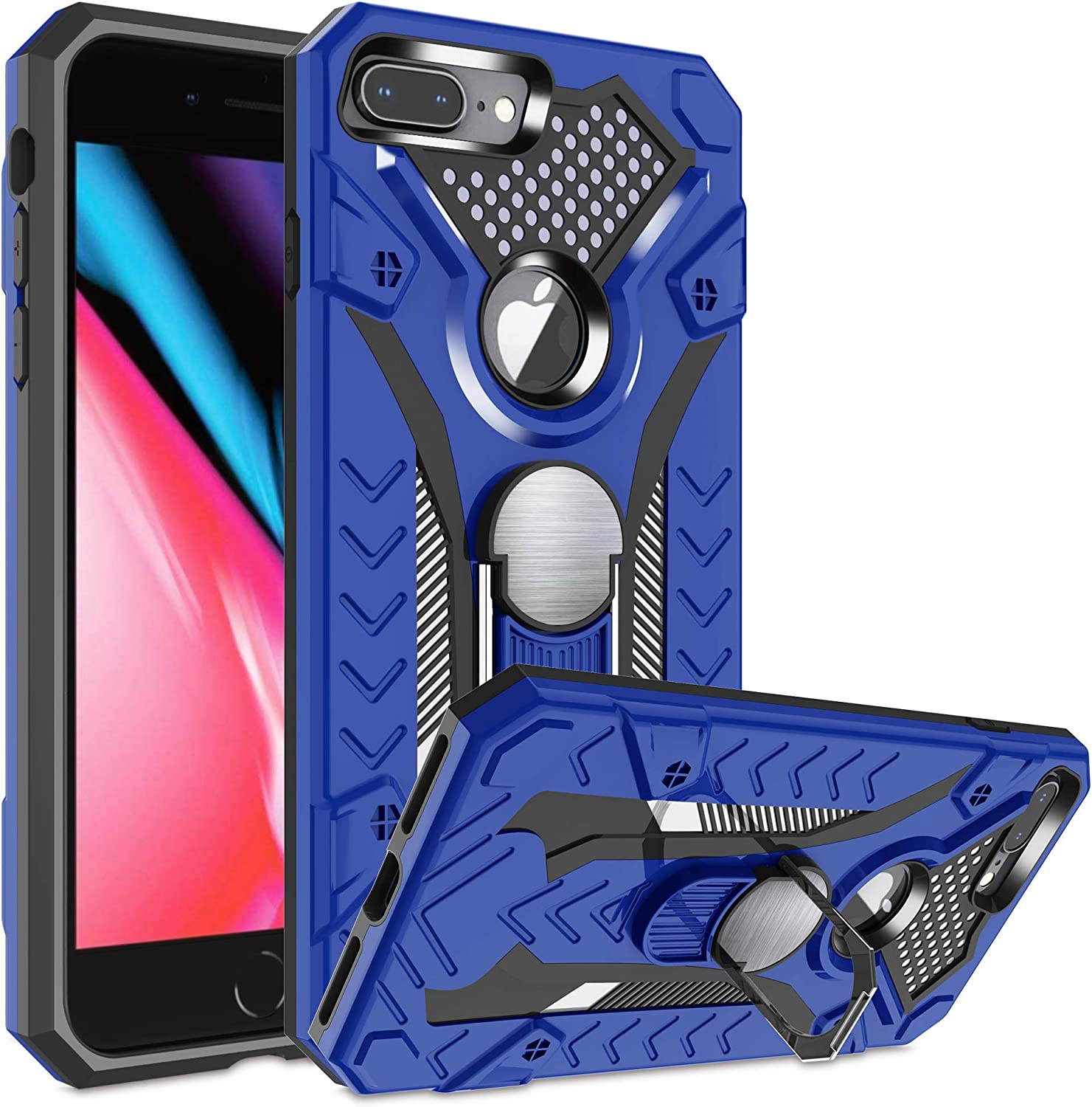 iPhone 7 Plus case | iPhone 8 Plus case | Metal 360 Degree Ring Kickstand| Atump Military Grade 15ft. Drop Shockproof Tested Protective case | Car Mount Phone case for iPhone 7 Plus Blue