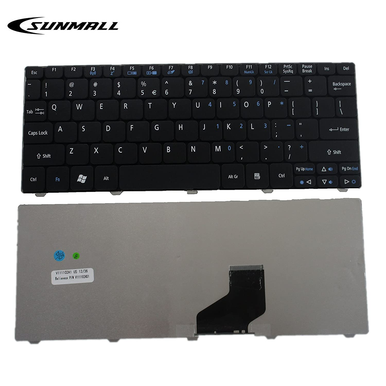 Amazon.com: SUNMALL Notebook Keyboard Replacement for Aspire One D255 D255E  D257 D260 D270