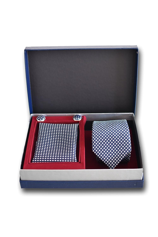 Krawatte Set mit Karierte Blaue Krawatte Elegant und Modern - Geschenk Set, ideal f/ür M/änner zum Geburtstag, eine Hochzeit 100/% Seide Einstecktuch und Manschettenkn/öpfe f/ür Herren Klassisch