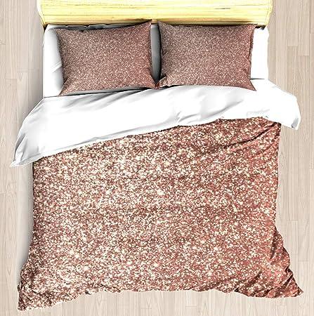 Ntcbed Pink Rose Gold Metallic Glitter Duvet Cover Set Soft