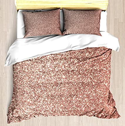 cd50d1abbbb8f NTCBED Pink Rose Gold Metallic Glitter - Duvet Cover Set Soft Comforter  Cover Pillowcase Bed Set