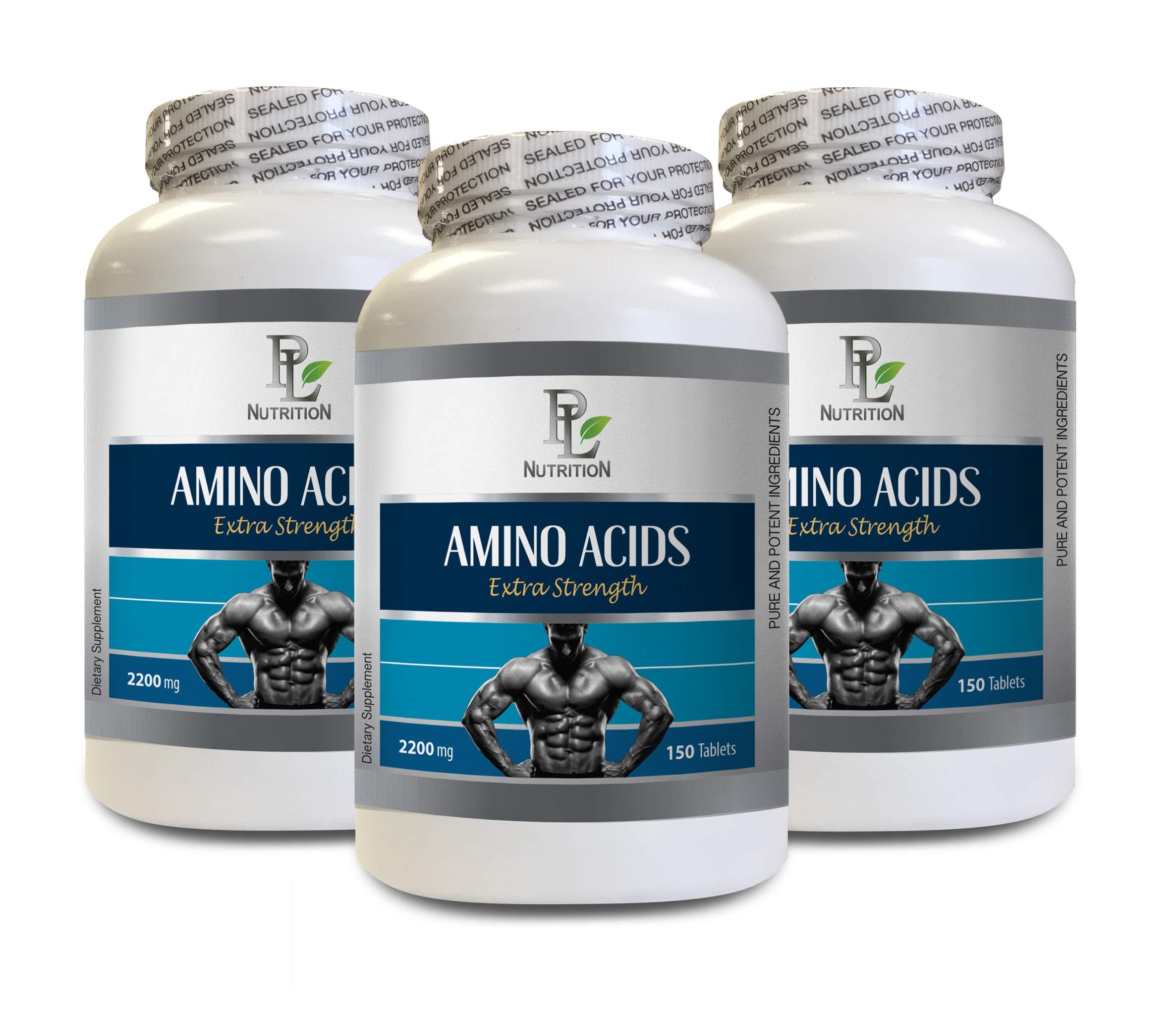 Workout Supplements for Men - Amino ACIDS 2200mg - Extra Strength - l-arginine Nitric Oxide Booster - 3 Bottles 450 Tablets