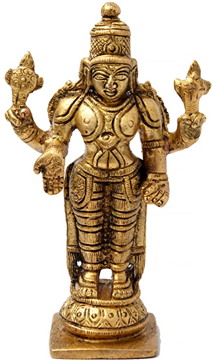 Amazon Com Kapasi Handicrafts Emporium Brass Vishnu Standing Idol