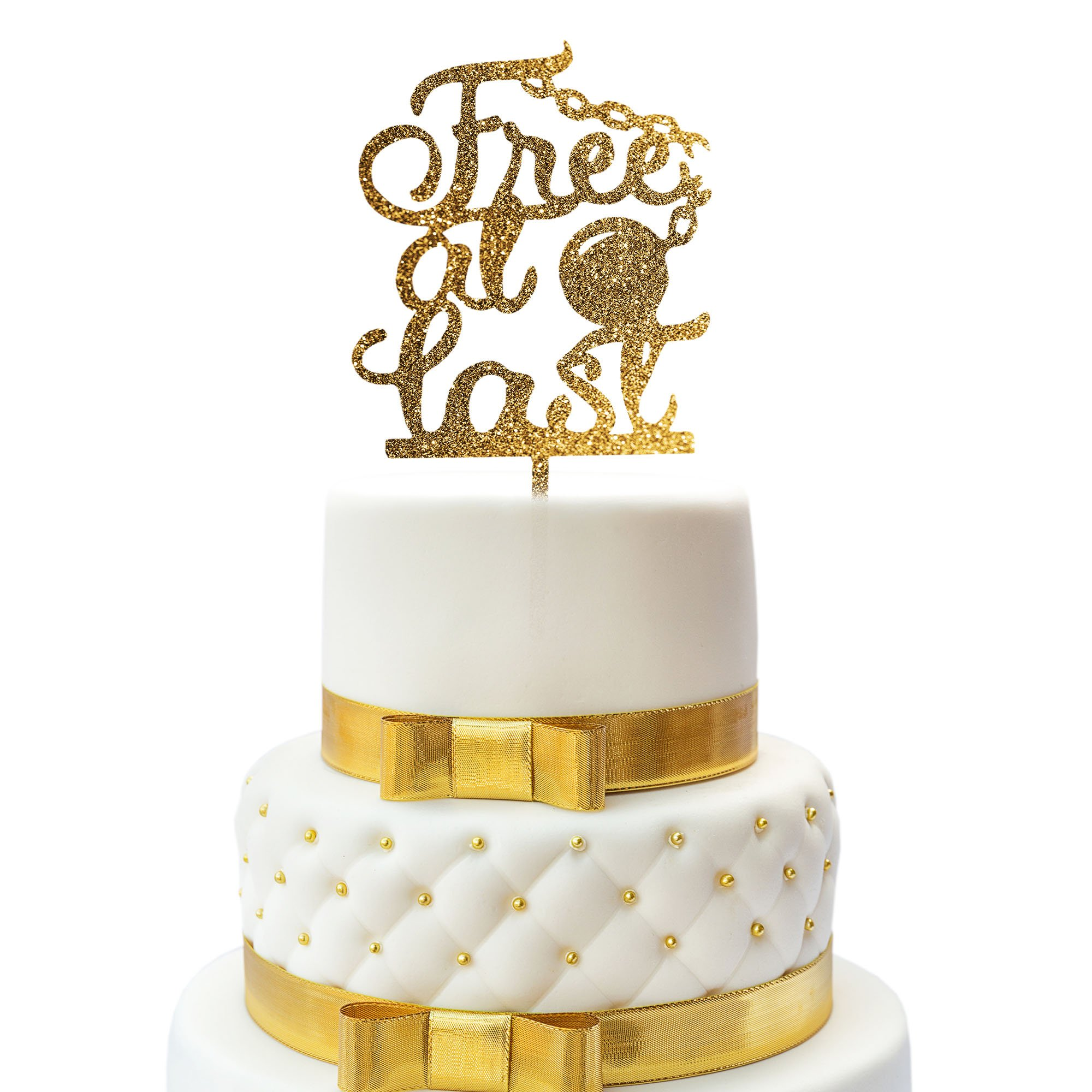 JennyGems Cake Topper - Divorce Party, Just Divorced, Break Up Party, Relationship Ends Party Cake Topper - Free At Last