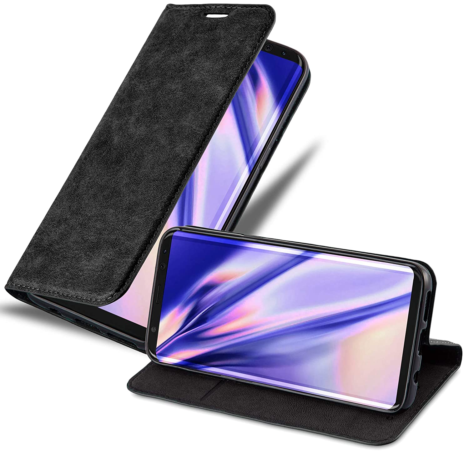 Cadorabo Book Case Works with Samsung Galaxy S8 Plus in Night Black – with Magnetic Closure, Stand Function and Card Slot – Wallet Etui Cover Pouch PU Leather Flip