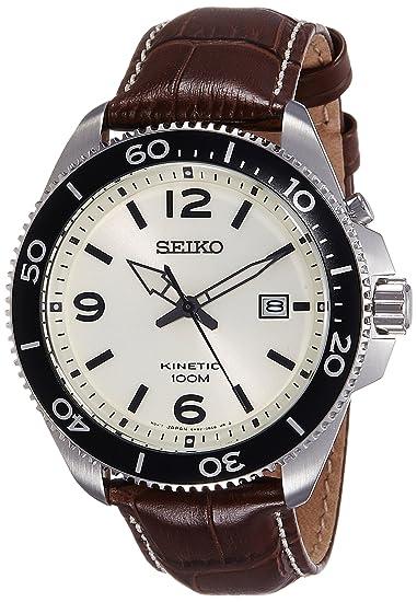 Seiko Reloj Analogico para Hombre de Kinetico con Correa en Cuero SKA749P1