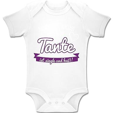 Kurzarm Baby-Body Spruch Tante Meine Tante ist single und heiß Bio-Baumwolle