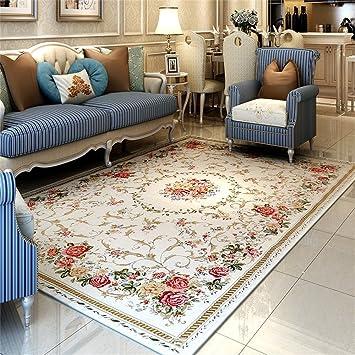 Amazon.de: Europäische Pastoral Stil Rosen Teppich Wohnzimmer ...