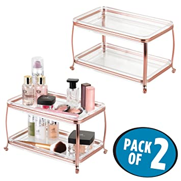 mDesign Decorative Makeup Storage Organizer Vanity Tray for Bathroom Counter Tops 2 Levels to Hold  sc 1 st  Amazon.com & Amazon.com: mDesign Decorative Makeup Storage Organizer Vanity Tray ...
