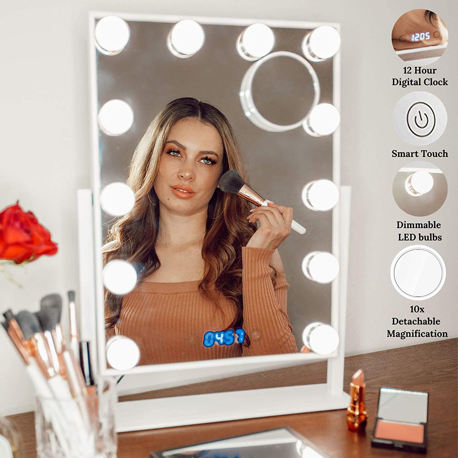 Estala Makeup Vanity Mirror with Lights - Hollywood Vanity Mirror & Lighted Makeup Table Set with Smart Touch Dimmable & Adjustable LED Lights & Digital Clock - Free eBook (White)
