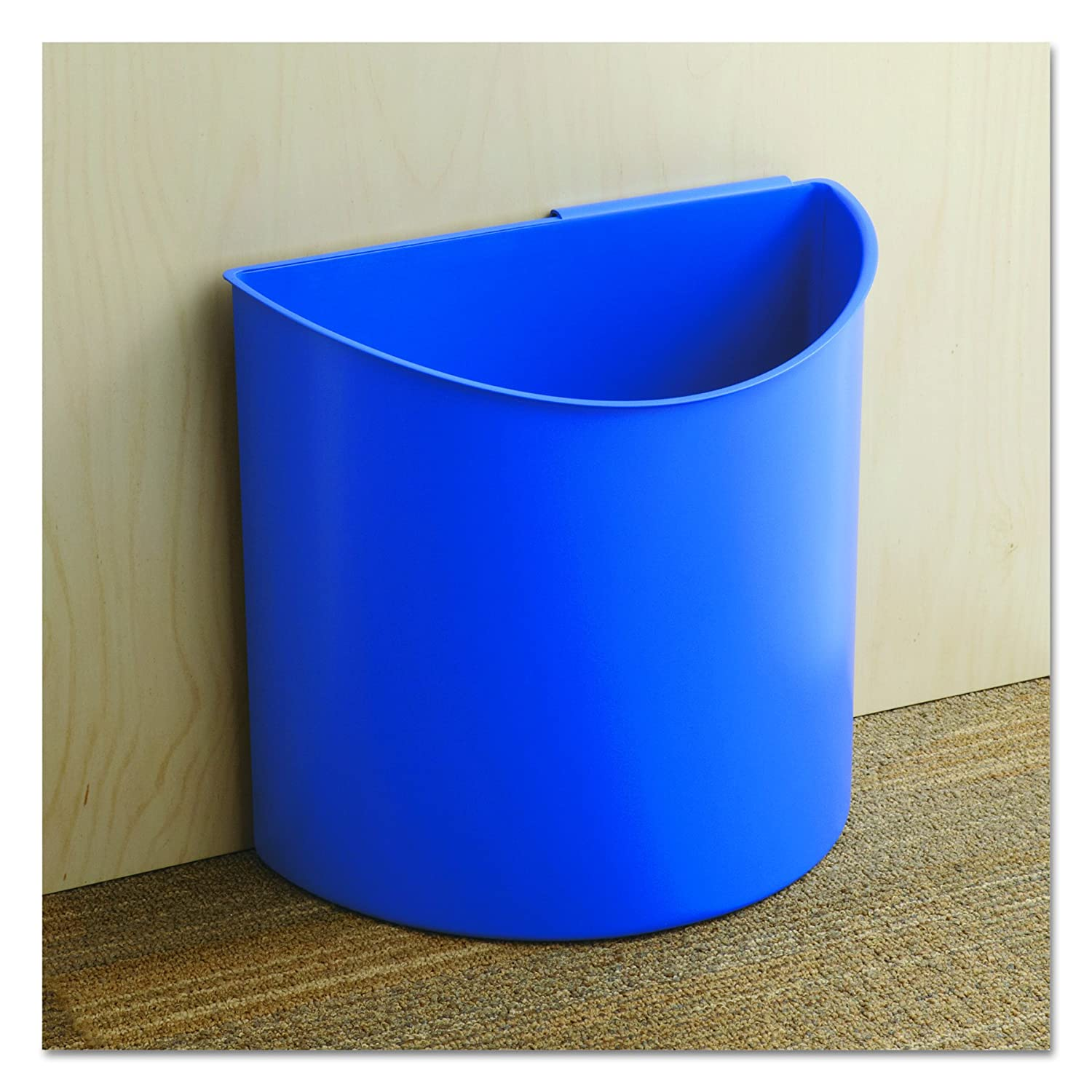 Black//Blue Safco Products 9928BB Desk-Side Waste Recycling Trash Can 7-Gallon