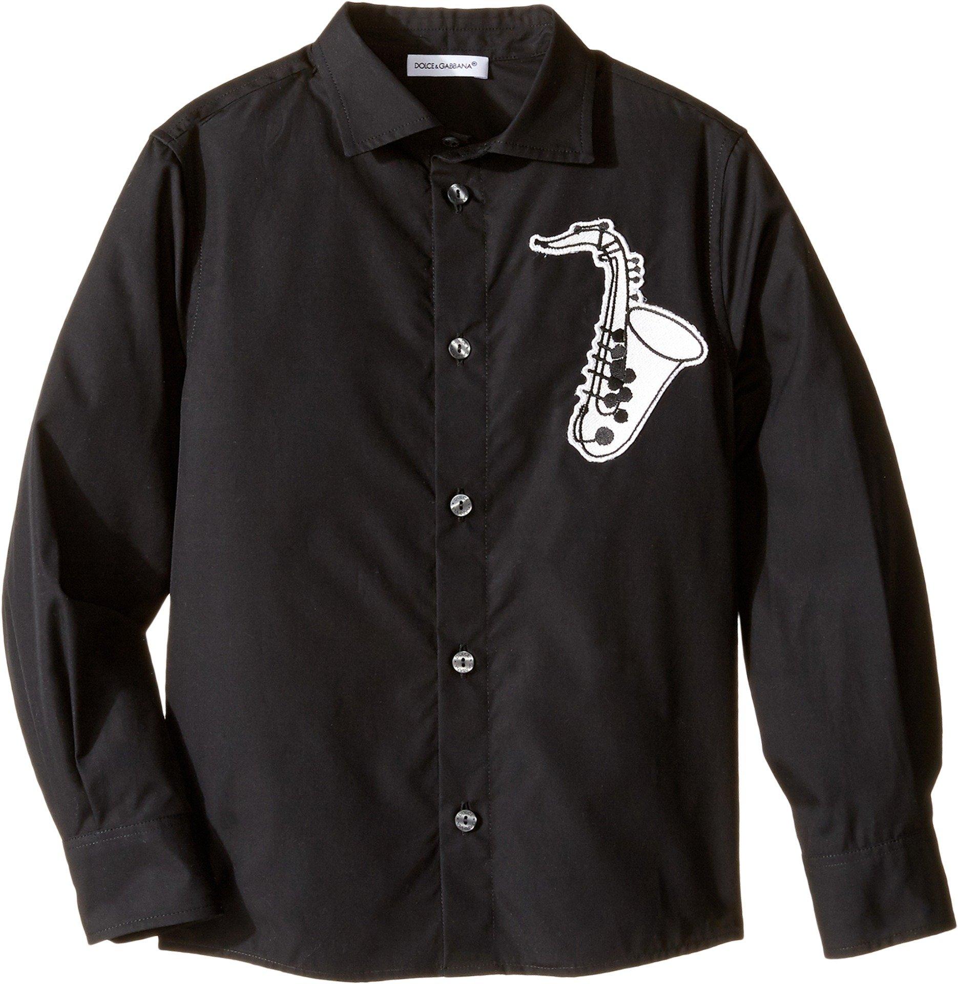Dolce & Gabbana Kids Baby Boy's Saxophone Button Up (Toddler/Little Kids) Black Button-up Shirt by Dolce & Gabbana