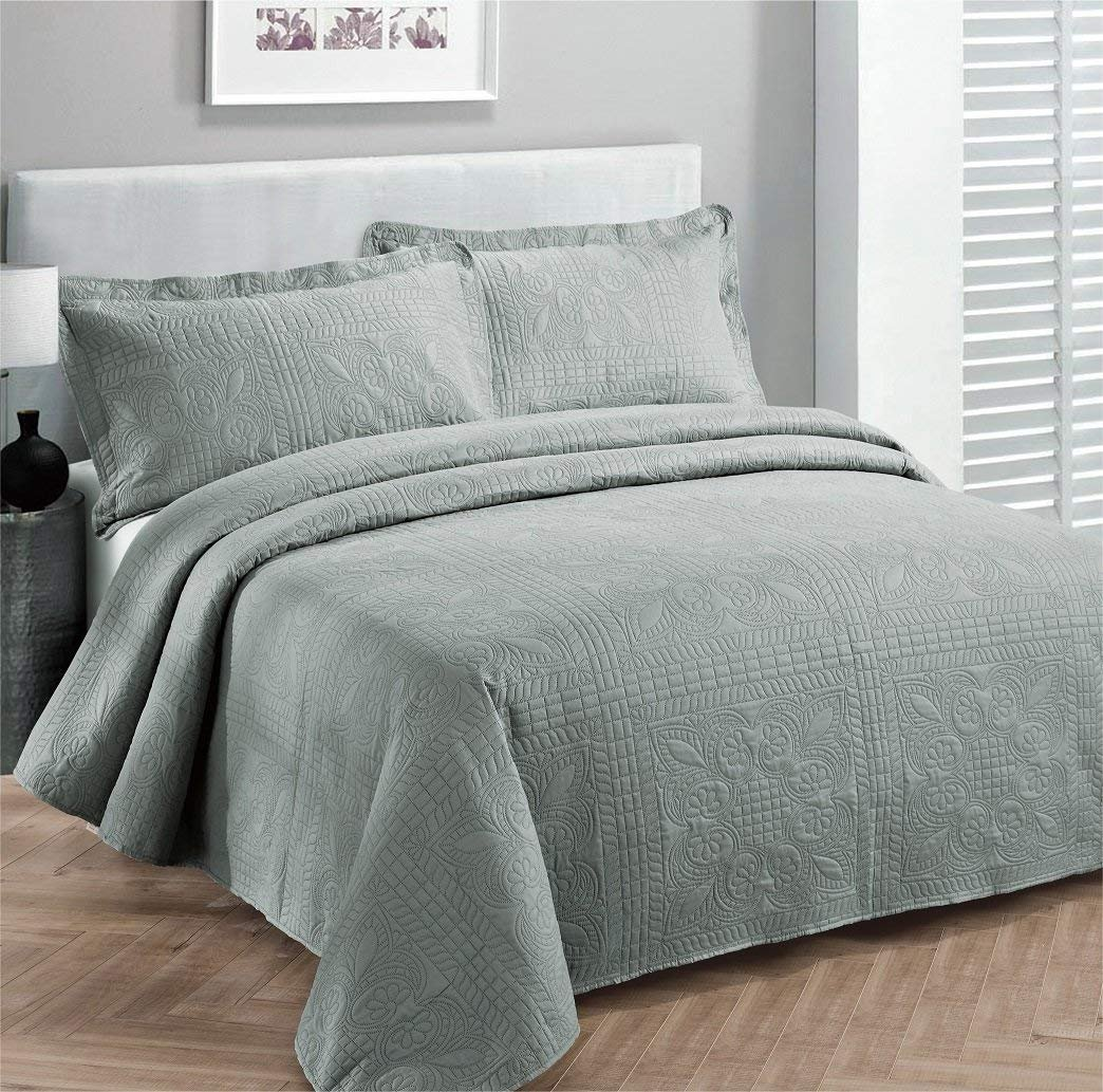 Elegant Home Decor Elegant Home Beautiful Over Sized Solid Color Embossed Floral Striped 3 Piece Coverlet Bedspread Queen//Full, Taupe