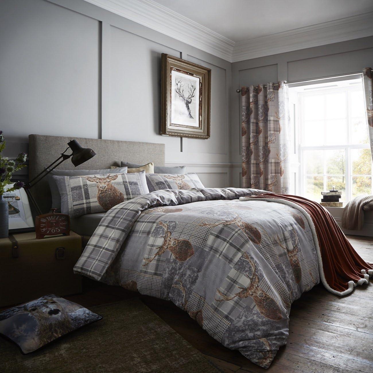 Burnt Orange 168/x 274/cm Textil Burnt orange 66 x 90 Inches Catherine Lansfield geb/ürstete Heritage-Check-Vorh/änge mit /Ösen