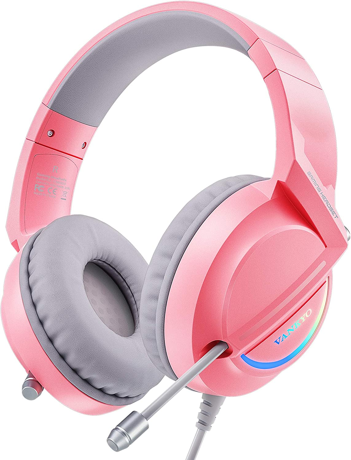 VANKYO Pink Gaming Headset for PS4, PS5, PC, Nintendo Switch, Xbox One, Comfortable Earmuffs PS4 Headset with Noise Isolation Microphone & LED Light, PC Gaming Headphones in 7.1 Surround Sound