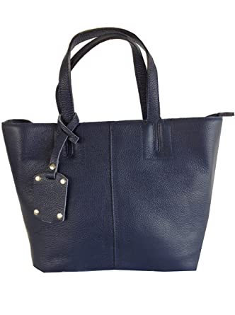 45574740d5fc Navy Blue Italian Leather Tote, Handbag or Shoulder bag: Amazon.co ...