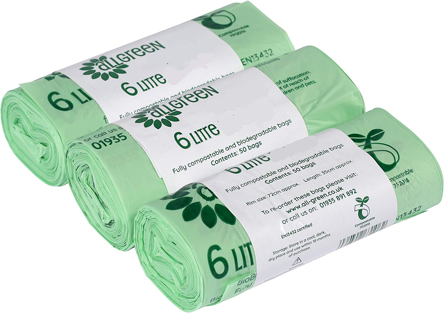 All-Green 6 Litre Compostable Kitchen Caddy Liners 6L Food Waste Bin Liners, 150 Bags