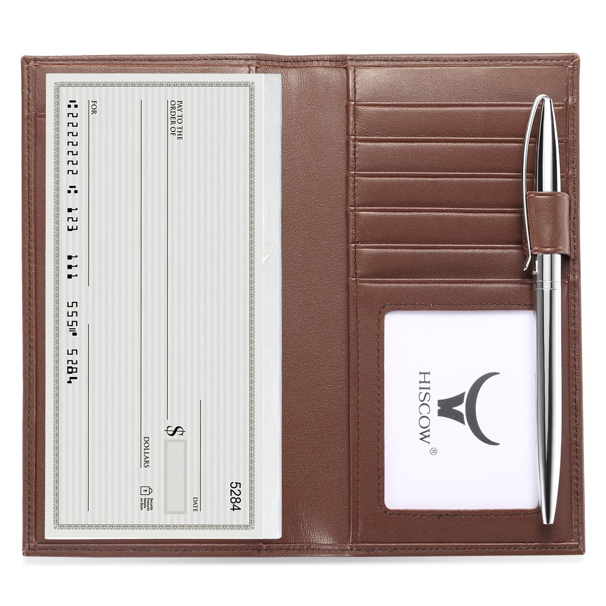 HISCOW Soft Leather Checkbook Cover & Card Holder with Divider - Italian Calfskin 11419_Black