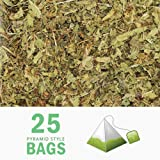 Tealyra - Pure Lemon Verbena - 25 Bags - Herbal Loose Leaf Tea - Hot or Iced - Relaxation - Calming - Digestive - Caffeine Free - All Natural - Pyramids Style Sachets