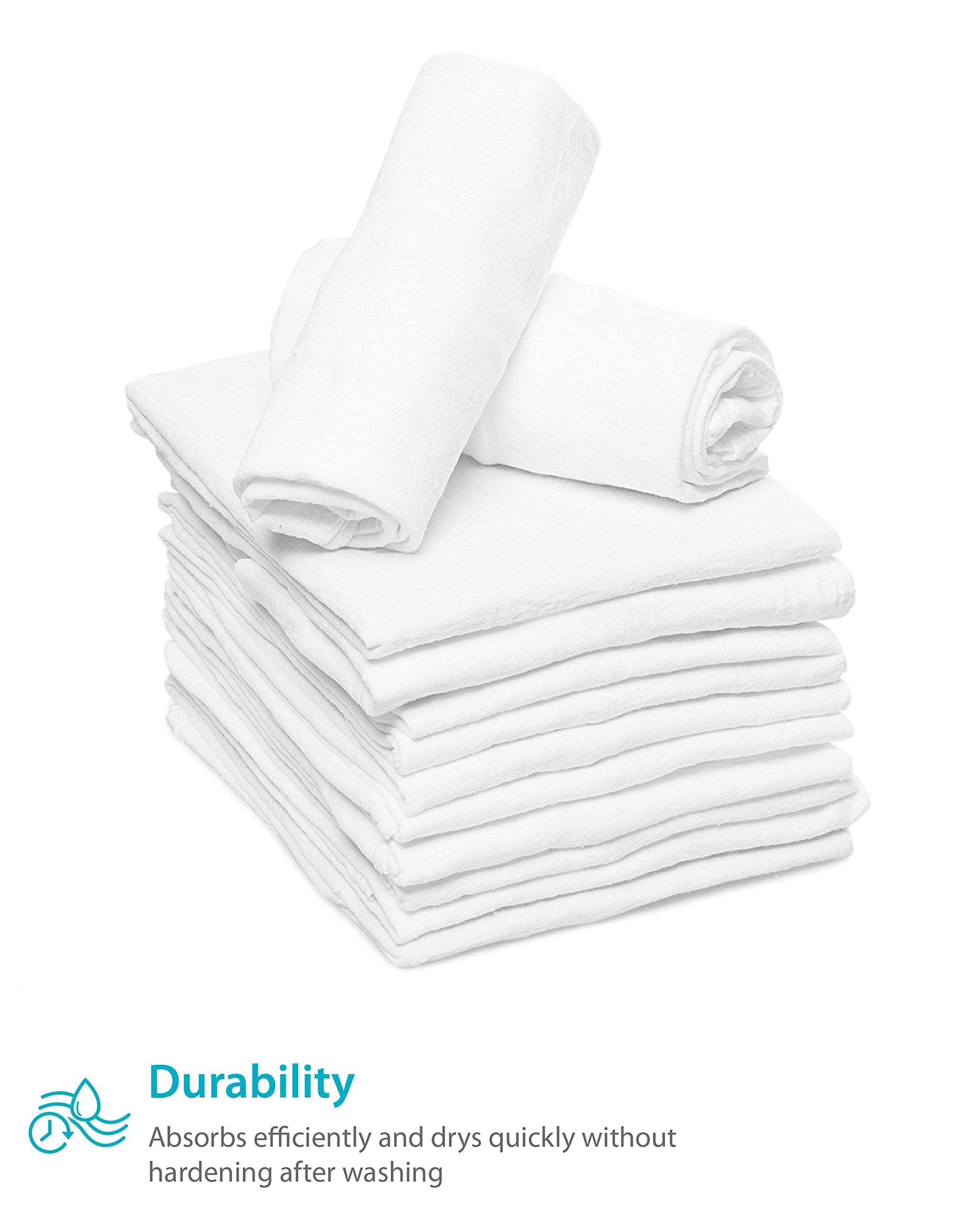 Zeppoli 12-Pack Flour Sack Towels - 31'' x 31'' Kitchen Towels - Absorbent White Dish Towels - 100% Ring Spun Cotton Bar Towels by Zeppoli (Image #7)
