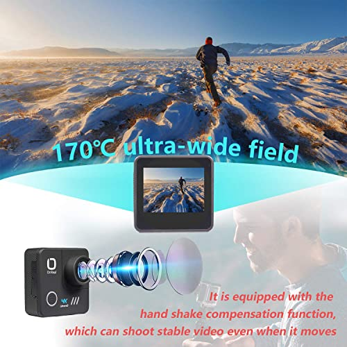 Matego Native 4K WiFi EIS Action Camera with 16MP Image Stabilization 170 Wide Angle Helmet Action Cam Waterproof Sport Camcorder 98ft Underwater Cameras for Diving Snorkeling,Accessories Kit