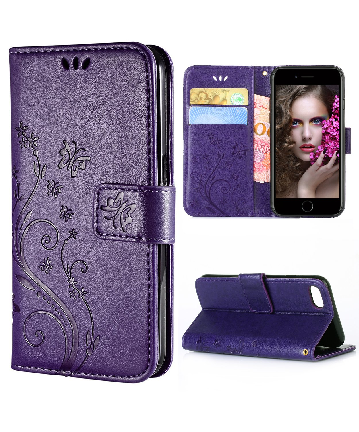 iPhone 8 Case,iPhone 7 Wallet Case, FLYEE Flip Case Wallet Leather [kickstand] Emboss Butterfly Flower Folio Magnetic Protective Cover with Card Slots for Apple iPhone8 iPone7 Purple