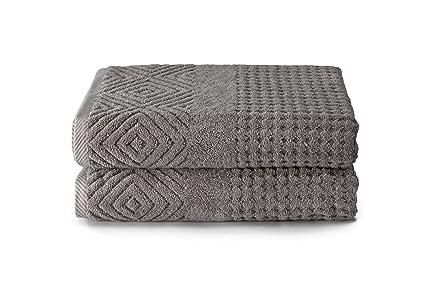 texere Orgánica algodón jacquard toallas de baño de regalos de diseño ecológico (lote de 2