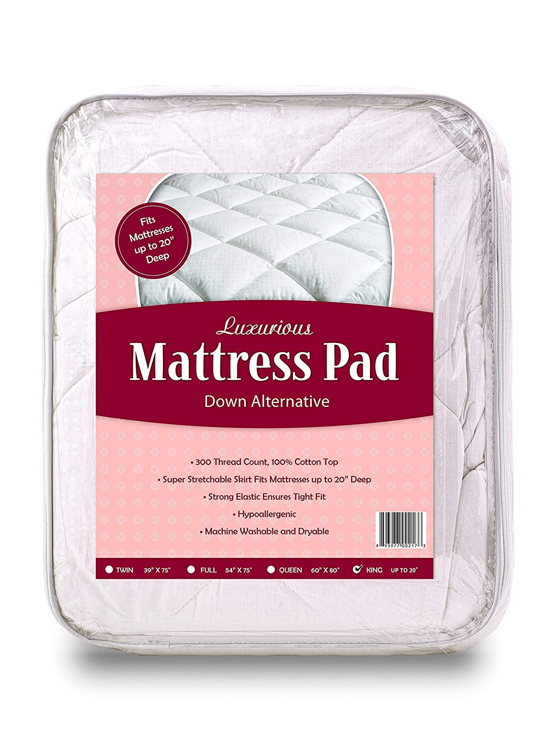 100/% Cotton Top Mastertex Twin Mattress Pad Topper Fitted 39x75 300 TC Quilted stretchable up to 14 Full Coverage Bed Mattress Pad Twin Highly Breathable Down Alternative Mattress Cover