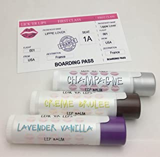 product image for World Flavors Lip Balm (France) Pack by Lick 'er Lips | Creme Brulee Champagne Lavender Vanilla | Beeswax Cocoa Butter Jojoba Hemp Castor Oils Vitamin E | 3 tubes (4 grams each) in retro Suitcase Tin