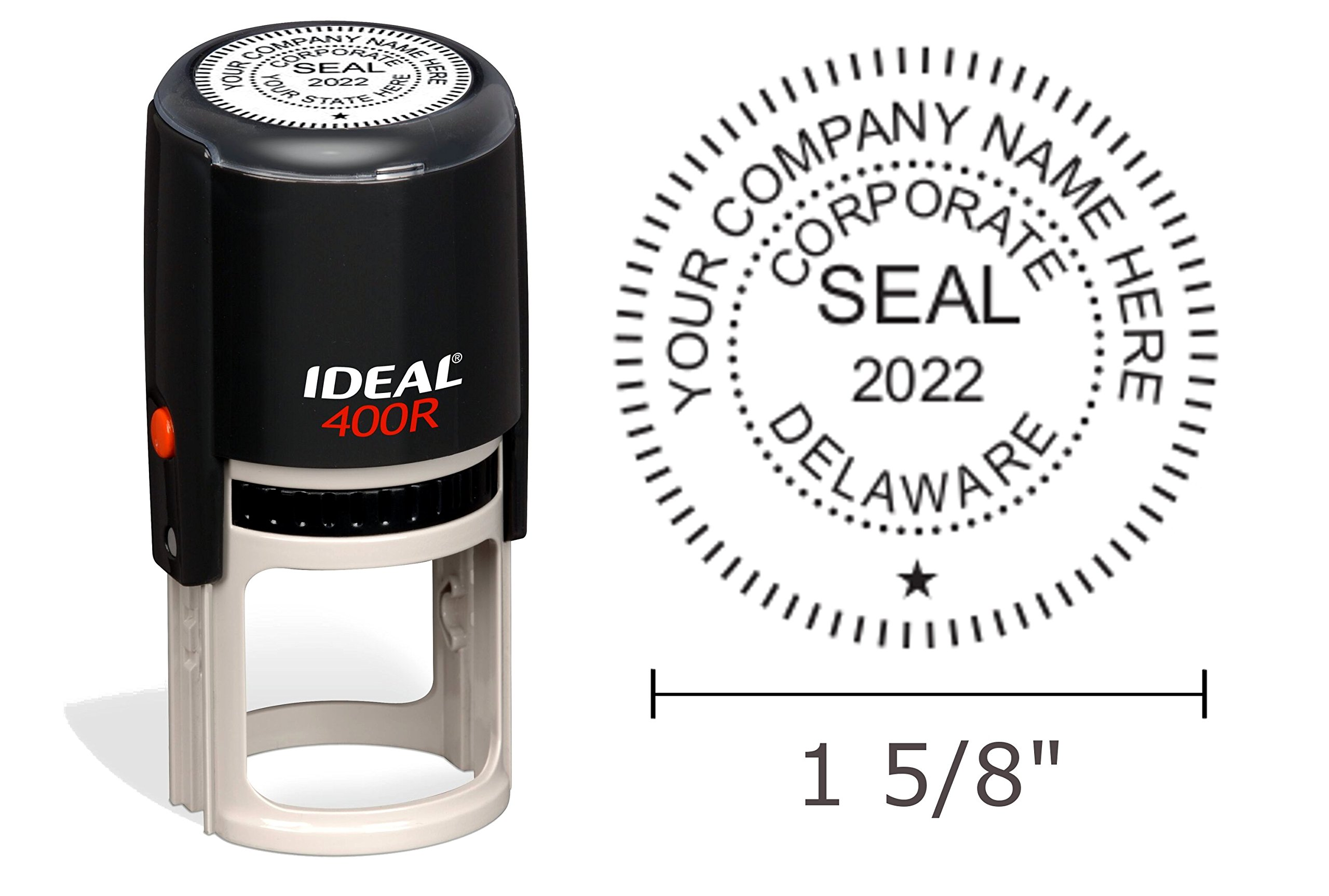 Delaware Corporate Seal Stamp, Ideal 400R, Round 1-5/8'' Impression, Black Body