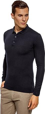 oodji Ultra Hombre Jersey de Punto con Cuello Polo, Azul, ES 52-54 ...