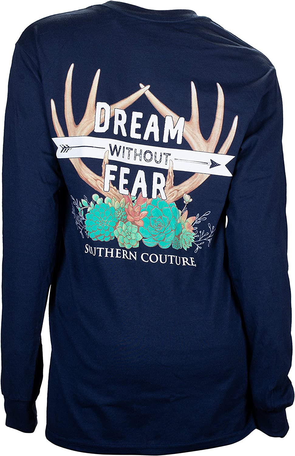 Southern Couture Classic Long Sleeve Fit Dream Without Fear Adult T-Shirt Navy Large