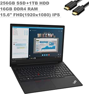 2020 Lenovo ThinkPad E595 15.6'' FHD (1920x1080) Business Laptop (AMD Quad-Core Ryzen 7 3700U, 16GB RAM, 256GB SSD + 1TB HDD) Type-C, HD Webcam, RJ-45, Windows 10 Pro 64 + IST Computers HDMI Cable