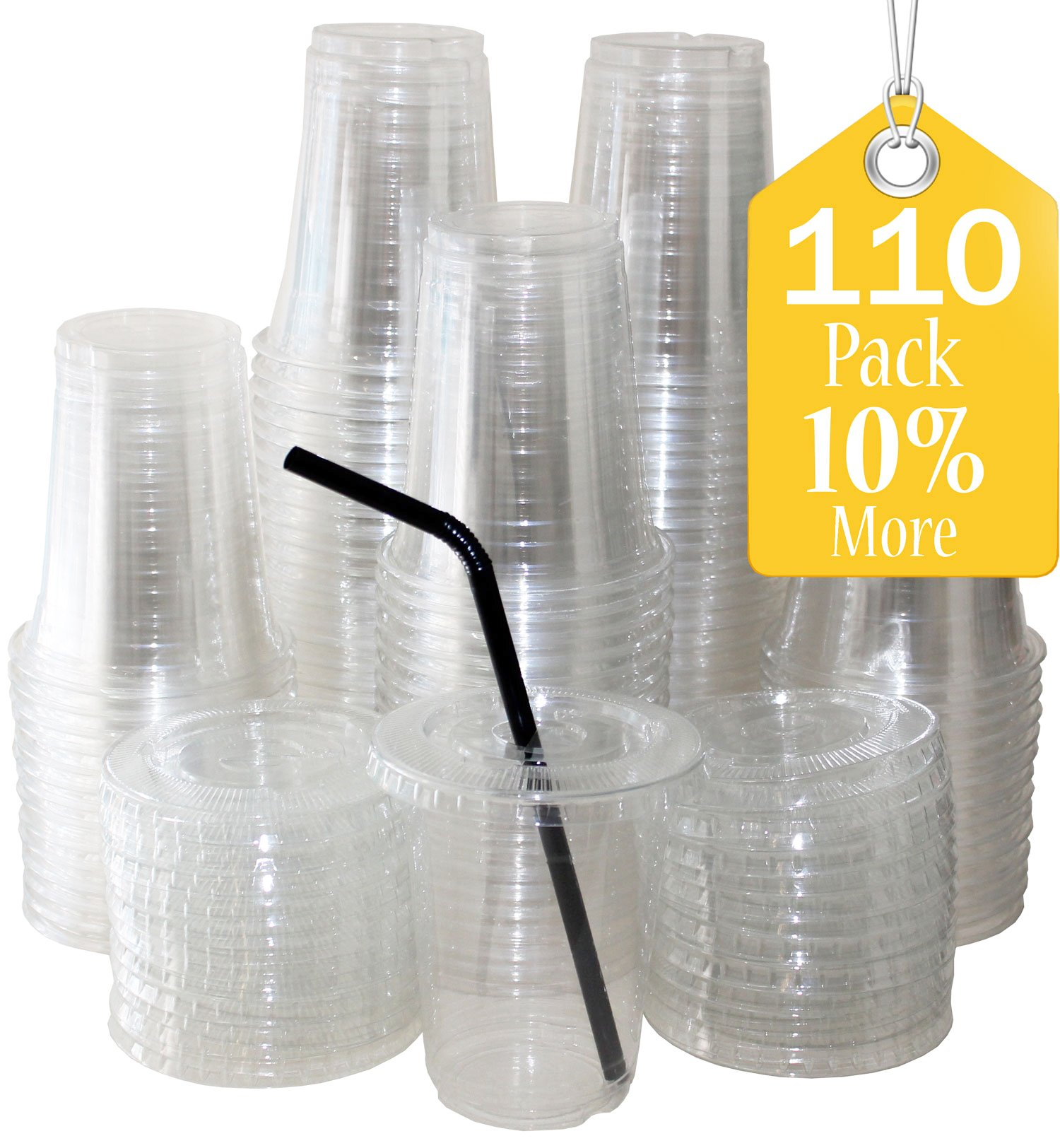 Sugarman Creations Clear Plastic Disposable Cups with Flat Lids, 12-Ounce (110 Piece) SUMMER SALE!! (Restaurant Grade)