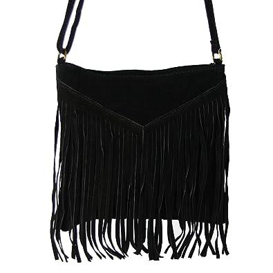 5a8674e5e2cb CALICIA sac bandoulière à franges en croute de cuir de vachette femmes noir  - 25x24 (
