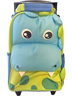d10135e1cc Kids Trolley Travel Cabin Bag Suitcase with Wheels and Telescopic Handle -  Dinosaur Design - by…