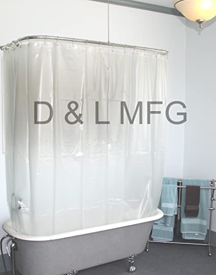 Extra Wide Vinyl Shower Curtain For A Clawfoot Tub Opaque Without Magnets  180 Quot Amazon Com