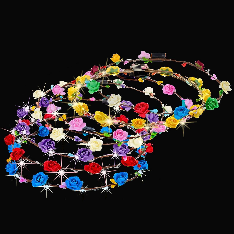 Legendog Corona de flores de 10 piezas 10 luces LED se iluminan corona de flores Corona para el cabello Tocado floral