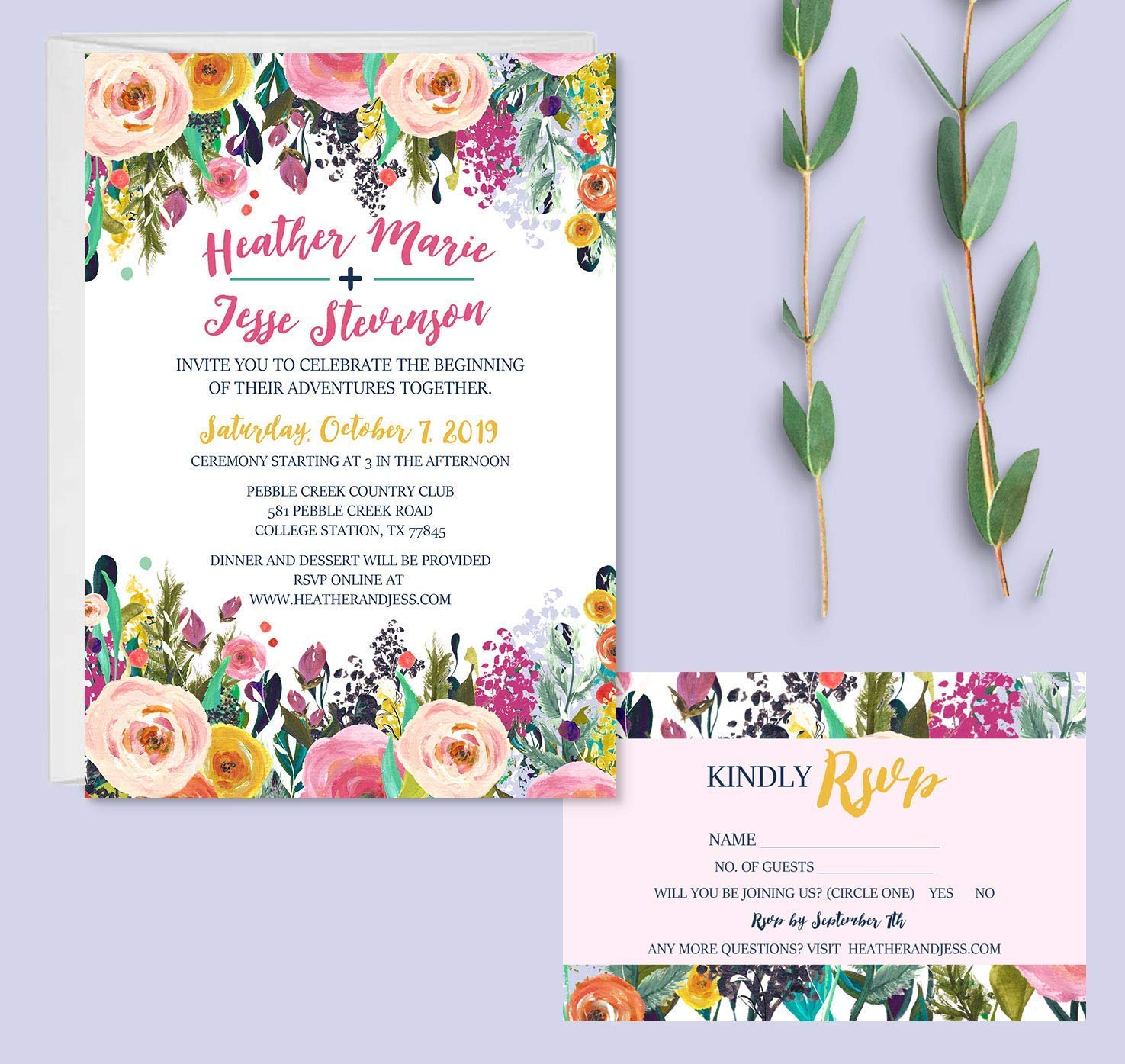 Amazon Com Set Of 10 Wedding Invitations With Rsvp Cards And