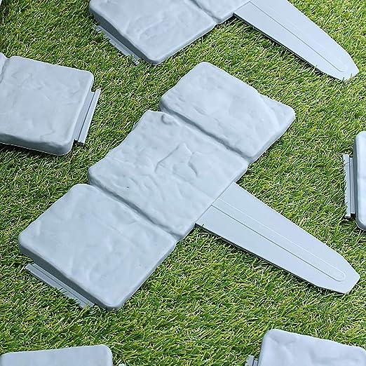 Tutoy 20 Unids Jardín Valla Ribete Adoquines Piedra Efecto Plástico Césped Ribete Planta Frontera Decoraciones: Amazon.es: Hogar