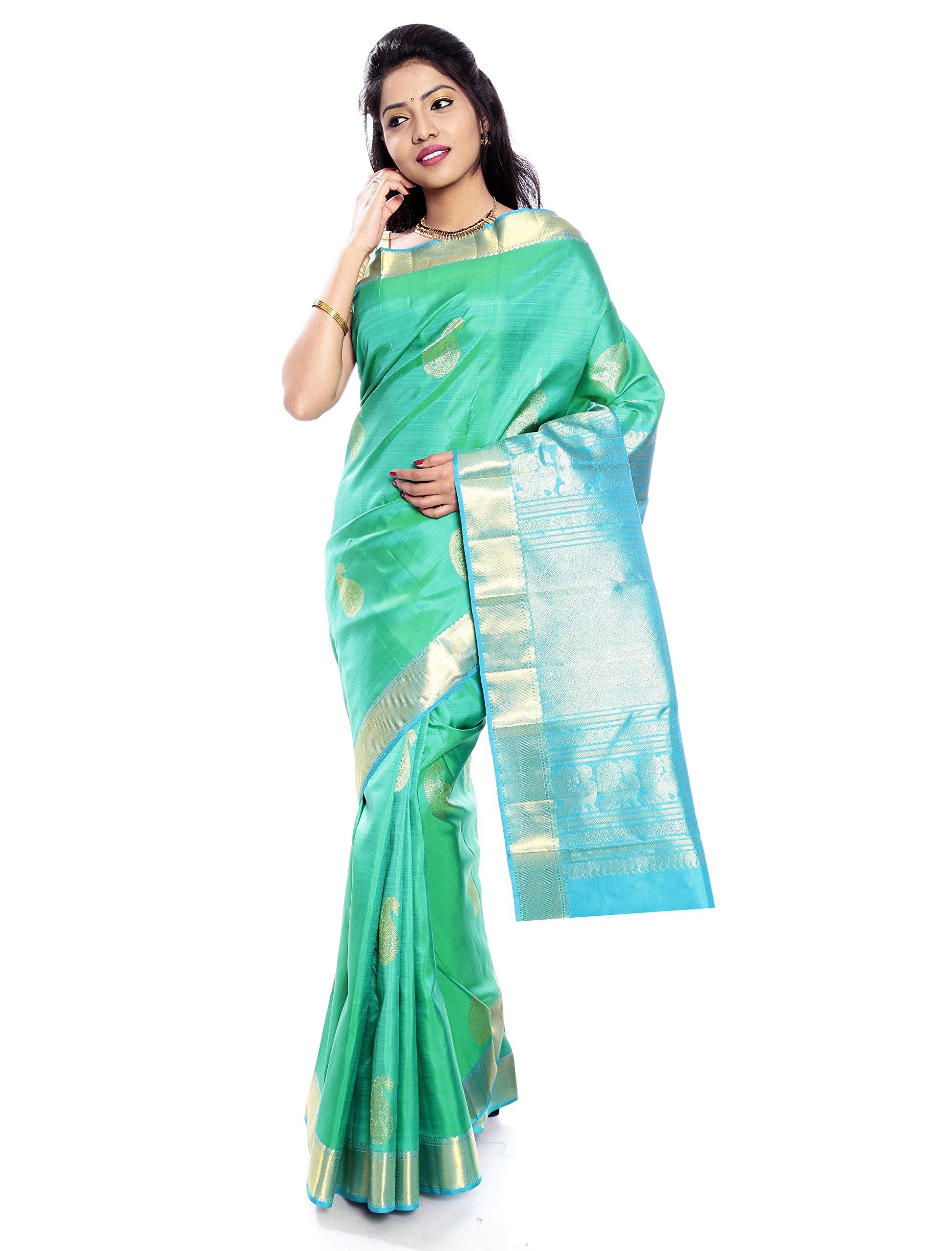 Mandakini — Indian Women's Kanchipuram - Handloom - Pure Silk Saree (Green ) (MK225) by Mandakini (Image #1)
