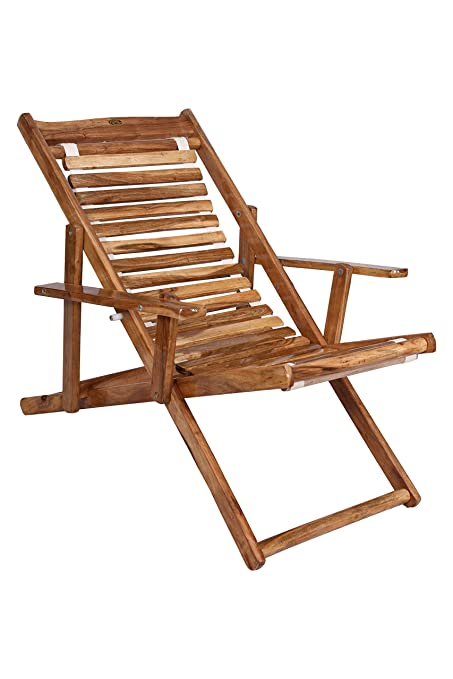 Miraculous Royal Bharat Seawing Wooden Folding 3 Step Adjustable Relaxing Aaram Chair With Armrest In Teakwood Finish Suitable For Garden And Outdoor Living Evergreenethics Interior Chair Design Evergreenethicsorg