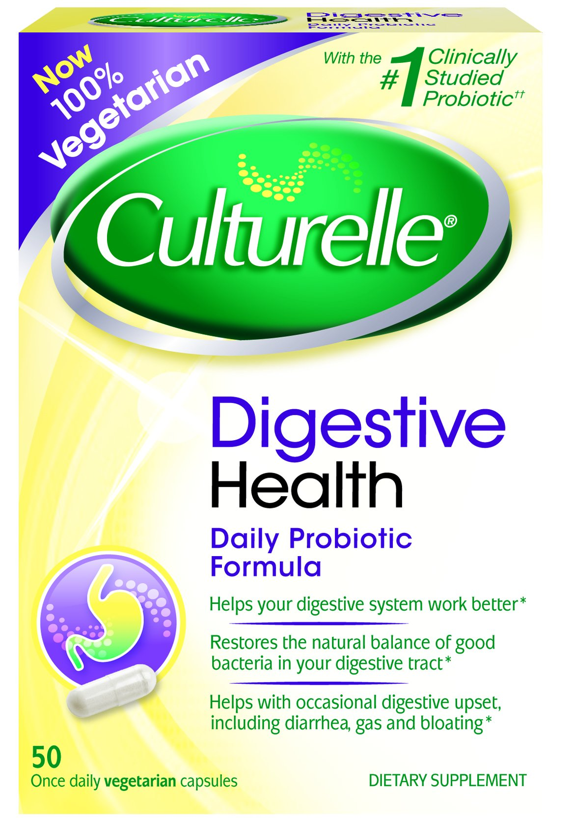 Culturelle Digestive Health Daily Formula Probiotic, One Per Day Dietary Supplement, Contains 100% Naturally Sourced Lactobacillus GG –The Most Clinically Studied Probiotic†, 50 Count